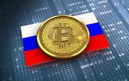 Ryssland för bitcoin 3d flagga Royaltyfria Foton