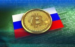 Ryssland för bitcoin 3d flagga Arkivbilder