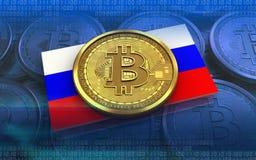 Ryssland för bitcoin 3d flagga stock illustrationer