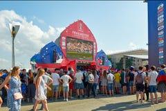 Ryssland Fifa-fanfest på teaterfyrkant i Rostov-On-Don Juli 01, 2018 Arkivfoto