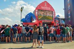 Ryssland Fifa-fanfest på teaterfyrkant i Rostov-On-Don Juli 01, 2018 Arkivbilder