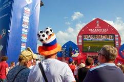 Ryssland Fifa-fanfest på teaterfyrkant i Rostov-On-Don Juli 01, 2018 Royaltyfri Foto