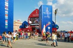 Ryssland Fifa-fanfest på teaterfyrkant i Rostov-On-Don Juli 01, 2018 Royaltyfria Foton