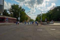 Ryssland Fifa-fanfest på teaterfyrkant i Rostov-On-Don Juli 01, 2018 Fotografering för Bildbyråer