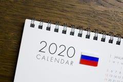 Ryssland flagga på kalendern 2020 royaltyfria foton