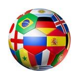 Ryssland 2018 Fotbollfotbollboll med lagnationsflaggor på wh royaltyfri illustrationer