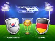 Ryssland 2018, fotbollmästerskapliga, match mellan Korea tekniker vektor illustrationer