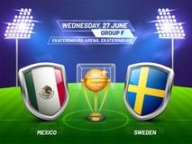 Ryssland 2018, fotbollmästerskapliga, match mellan Mexico V stock illustrationer