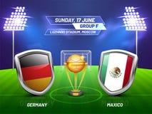 Ryssland 2018, fotbollmästerskapliga, match mellan Tyskland V vektor illustrationer