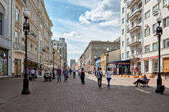 Ryssland Gammal Arbat gata i Moskva 20 Juni 2016 Royaltyfri Bild