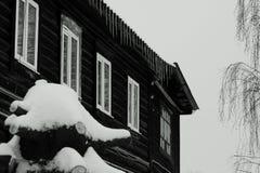 Ryssland i Nizhny Novgorod, den första blidvädret, på taken av husistappar royaltyfri foto