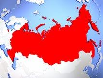 Ryssland i rött på översikt vektor illustrationer