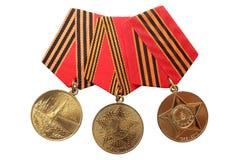 RYSSLAND - 1995, 2005, 2010: Jubileummedaljer 50, 60, 65 år av segern i det stora patriotiska kriget 1941-1945 Arkivbilder
