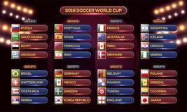 Ryssland kalender för 2018 världscup Mall för fotbollschematabell, vektor illustrationer