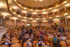 RYSSLAND KALININGRAD - DECEMBER 08, 2015: Inre av Kaliningrad den regionala dramateatern Fotografering för Bildbyråer