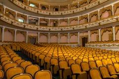 RYSSLAND KALININGRAD - DECEMBER 08, 2015: Inre av Kaliningrad den regionala dramateatern Royaltyfria Foton