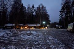 Ryssland Karelia Territorium av den reserv`-Kivach `en, November 17, 2017 Royaltyfri Bild