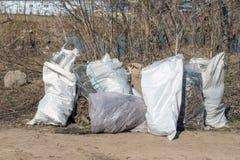 Ryssland Kazan - April 20, 2019: Avskrädepåsar på flodbanken Påsar med sidor arkivbilder