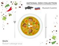 Ryssland kokkonst Europeisk nationell maträttsamling Rysk cabba vektor illustrationer