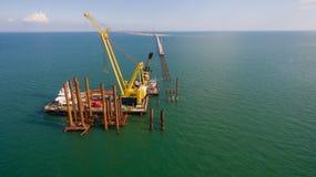 Ryssland konstruktionen av den Crimean bron Royaltyfria Foton