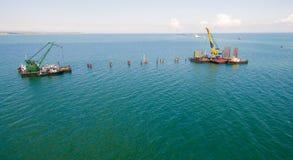 Ryssland konstruktionen av den Crimean bron Royaltyfri Fotografi