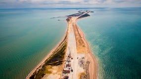 Ryssland konstruktionen av den Crimean bron Royaltyfria Bilder