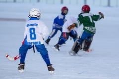 RYSSLAND KRASNOGORSK - MARS 03, 2015: krokiga slutskedebarns hockeyliga, Ryssland Royaltyfria Bilder