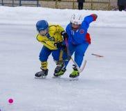 RYSSLAND KRASNOGORSK - MARS 03, 2015: krokiga slutskedebarns hockeyliga, Ryssland Royaltyfri Fotografi