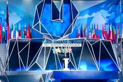 02 03 2019 Ryssland krasnoyarsk Öppningscermonin av Universiaden 2019 fotografering för bildbyråer