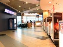 Ryssland moscow betalad parkering för flygplatsdomodedovo moscow Inre sikt av den internationella terminalen Fotografering för Bildbyråer