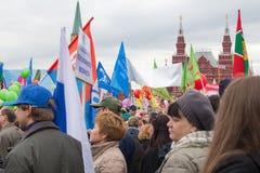 05/01/2015 Ryssland, Moskva Demonstration på röd fyrkant Arbets- da Arkivfoton