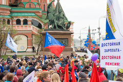 05/01/2015 Ryssland, Moskva Demonstration på röd fyrkant Arbets- da Arkivfoto