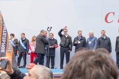 05/01/2015 Ryssland, Moskva Demonstration på röd fyrkant Arbets- da Arkivbilder