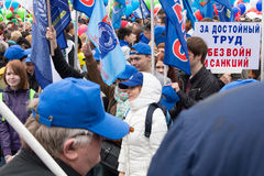 05/01/2015 Ryssland, Moskva Demonstration på röd fyrkant Arbets- da Royaltyfri Foto