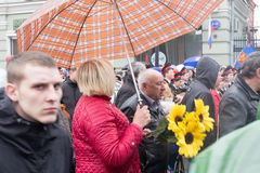 05/01/2015 Ryssland, Moskva Demonstration på röd fyrkant Arbets- da Arkivbild