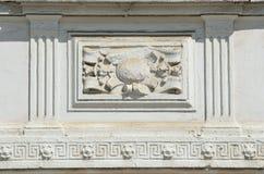 Ryssland Moskva, gammal herrgård i den Serebryanichesky gränden, huset 7 dekorativa element Royaltyfria Bilder