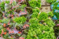 RYSSLAND MOSKVA, JUNI 11, 2017: Olika typer av grön sallad på hyllorna i supermarket Auchan Royaltyfri Fotografi