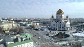 Ryssland Moskva, Kristus frälsaredomkyrkan, Kremlskytte från luften, dag, vinter 4K