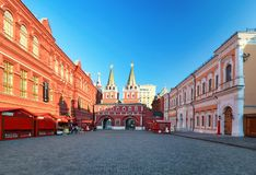 Ryssland Moskva - röd fyrkant på soluppgång, ingen arkivbilder