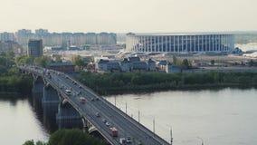 RYSSLAND Nizhny Novogorod - Augusti, 2017: Sikt av Nizhny Novogorod stadion som bygger för den FIFA världscupen 2018 i Ryssland lager videofilmer