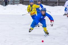 RYSSLAND OBUKHOVO- FEBRUARI 19, 2016: etapp för 3 D av den krokiga hockeyligan för barn` s, Ryssland Royaltyfri Foto
