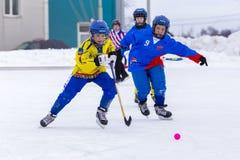 RYSSLAND OBUKHOVO- FEBRUARI 19, 2016: etapp för 3 D av den krokiga hockeyligan för barn` s, Ryssland Arkivbilder