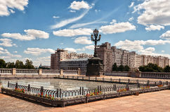 Ryssland Området nära templet av Kristus frälsaren i Moskva 20 Juni 2016 Royaltyfri Foto