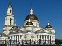 Ryssland ortodox arkitektur Spaso-Preobrazhensky domkyrkakyrka i Nevyansk, Sverdlovsk region Royaltyfri Fotografi