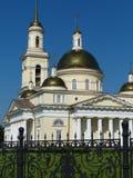 Ryssland ortodox arkitektur Spaso-Preobrazhensky domkyrkakyrka i Nevyansk, Sverdlovsk region Royaltyfri Foto