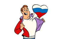 Ryssland patriotman som isoleras på vit bakgrund stock illustrationer