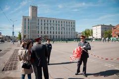 RYSSLAND PENZA - KAN 1: Demonstration för May dag Royaltyfri Foto