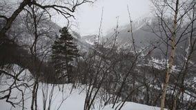Ryssland republik av norr Ossetia, Alania Filmvintersnöstorm i bergen av det centrala Kaukasuset stock video