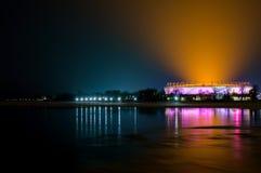 Ryssland Rostov-On-Don, Januari 24, 2018: FotbollsarenaRostov arena Stadion för den FIFA världscupen 2018 Nightview illumin royaltyfri fotografi