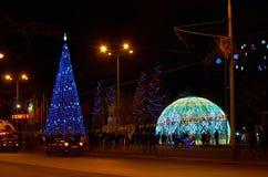 Ryssland Rostov-On-Don Natt för Bolshaya Sadovaya gatavinter 4 Januari 2017 Arkivfoton